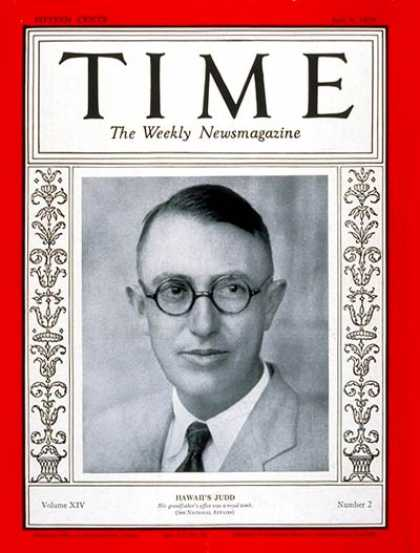 Time - Governor Lawrence Judd - July 8, 1929 - Governors - Hawaii - Health & Medicine -