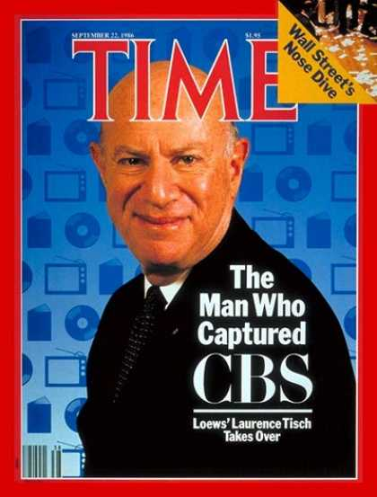 Time - Laurence Tisch - Sep. 22, 1986 - Television - CBS - Broadcasting - Business - Me