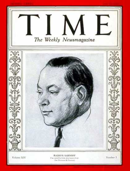 Time - David Sarnoff - July 15, 1929 - Television - Radio - NBC - RCA - Broadcasting
