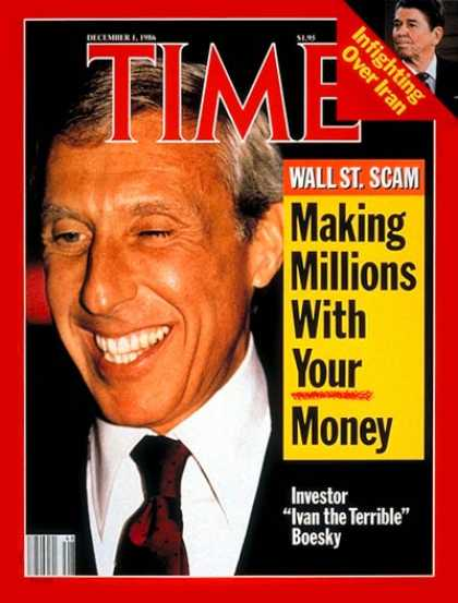 Time - Ivan Boesky - Dec. 1, 1986 - Wall Street - Finance - Scandals - Crime