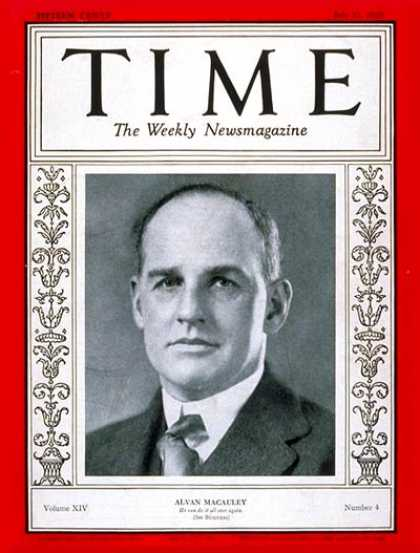Time - Alvan Macauley - July 22, 1929 - Cars - Automotive Industry - Transportation
