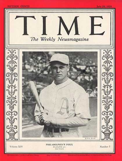 Time - Jimmie Foxx - July 29, 1929 - Baseball - Philadelphia - Sports