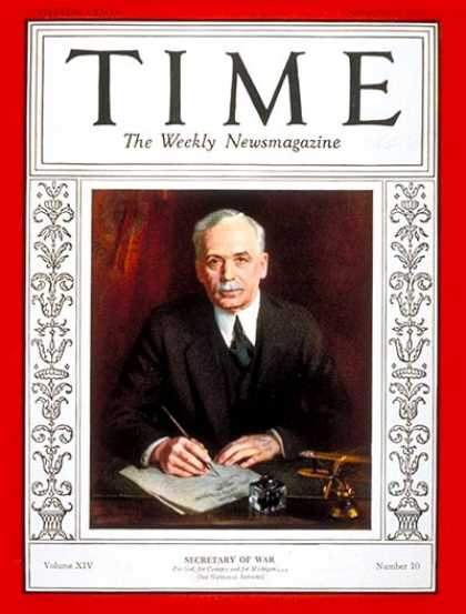 Time - James W. Good - Sep. 2, 1929 - Military - Politics