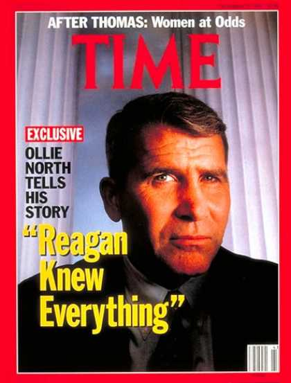 Time - Oliver North - Oct. 28, 1991 - Scandals - Iran-Contra - Politics - Middle East