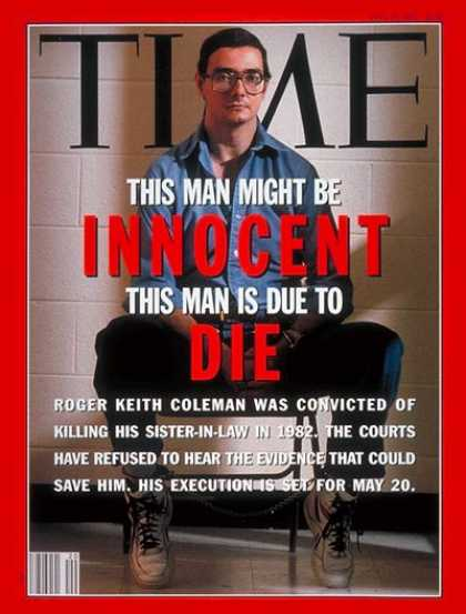 Time - Roger Keith Coleman - May 18, 1992 - Capital Punishment - Crime - Death Penalty