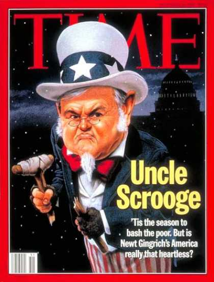 Time - Newt Gingrich as Uncle Scrooge - Dec. 19, 1994 - Newt Gingrich - Politics