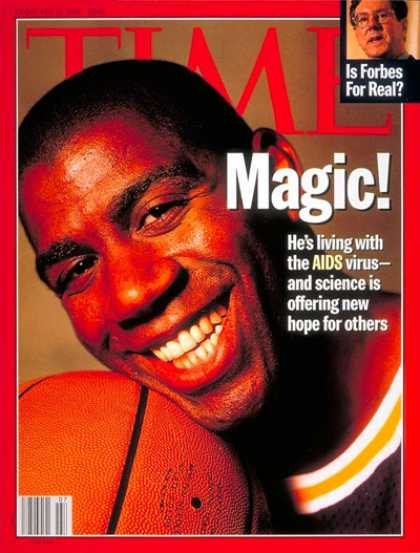 Time - Magic Johnson - Feb. 12, 1996 - AIDS - Sports - Basketball - Health & Medicine