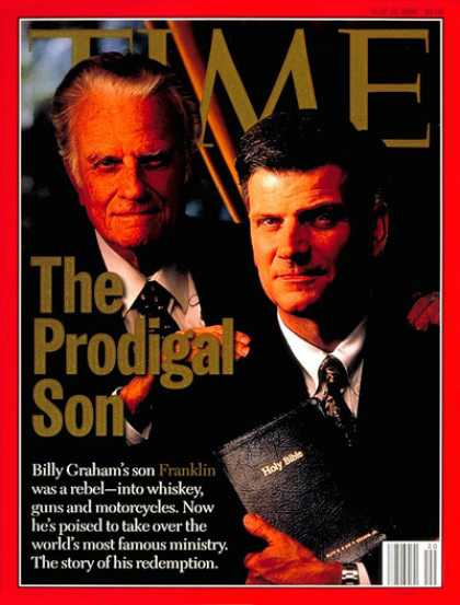 Time - Billy and Franklin Graham - May 13, 1996 - Billy Graham - Evangelicals - Christi