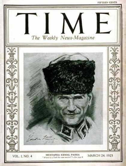 Time - Mustapha Kemal Pasha - Mar. 24, 1923 - Ataturk - Mustafa Kemal Pasha - World War