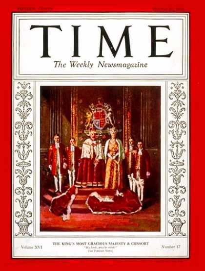 Time - King George V & Queen Mary - Oct. 27, 1930 - King George V - Queen Mary - Royalt