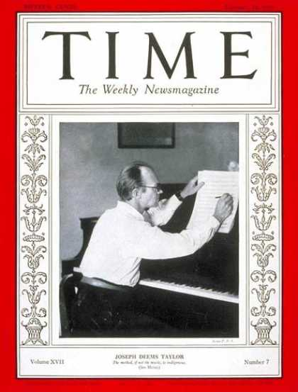 Time - Joseph Deems Taylor - Feb. 16, 1931 - Composers - Music