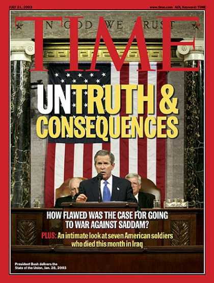 Time - Untruth and Consequences - July 21, 2003 - George W. Bush - Iraq - Politics - U.