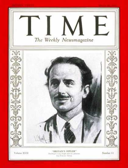Time - Sir Oswald Moseley - Mar. 16, 1931 - Great Britain - Politics