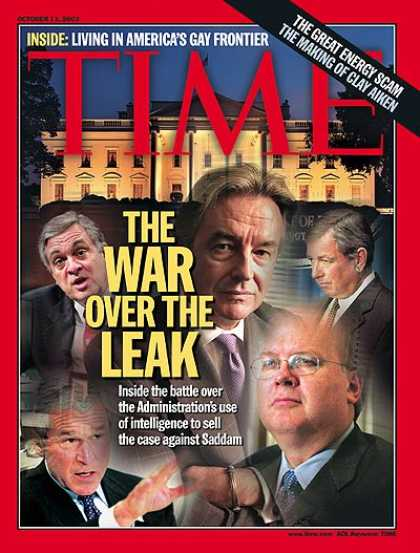 Time - The War Over the Leak - Oct. 13, 2003 - George W. Bush - Karl Rove - U.S. Presid