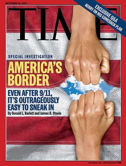 Time - America's Border - Sep. 20, 2004 - Immigration - Terrorism - American Flag