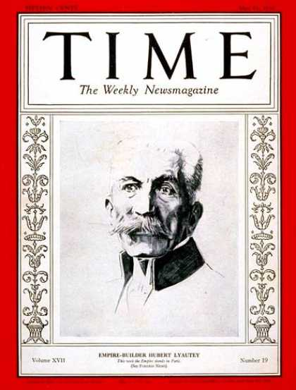 Time - Hubert Lyautey - May 11, 1931 - France - Military