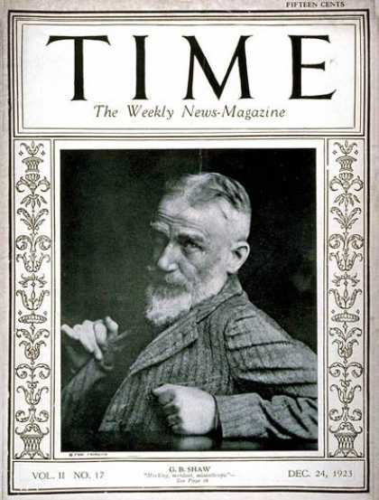 Time - George Bernard Shaw - Dec. 24, 1923 - Great Britain - Theater - Entertainment