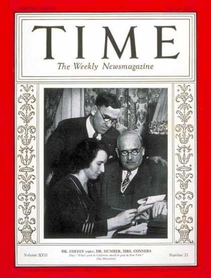 Time - Drs. Coffey, Humber & Mrs. Conners - May 25, 1931 - Cancer - Medical Research -