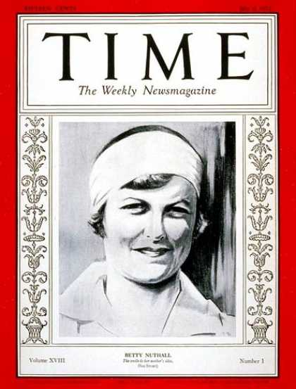 Time - Betty Nuthall - July 6, 1931 - Tennis - Sports