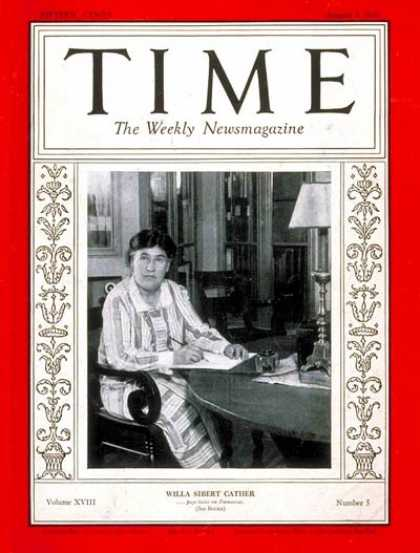 Time - Willa S. Cather - Aug. 3, 1931 - Books