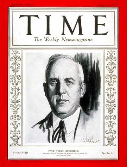 Time - Paul W. Litchfield - Aug. 10, 1931 - Business