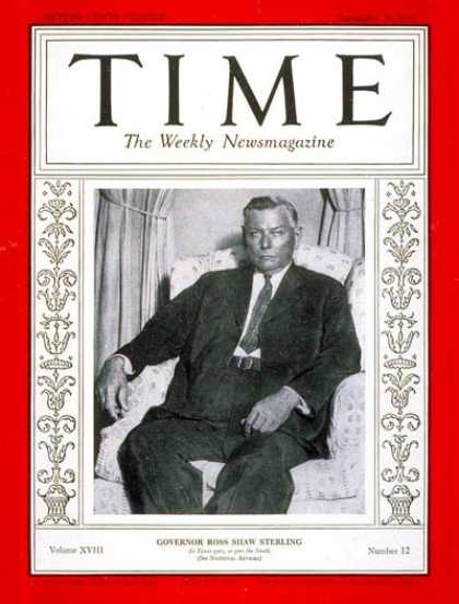 Time - Governor Ross S. Sterling - Sep. 21, 1931 - Governors - Politics - Texas