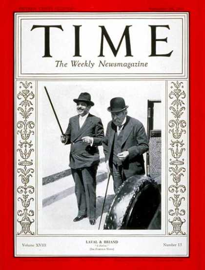 Time - Pierre Laval & Aristide Briand - Sep. 28, 1931 - Pierre Laval - Aristide Briand