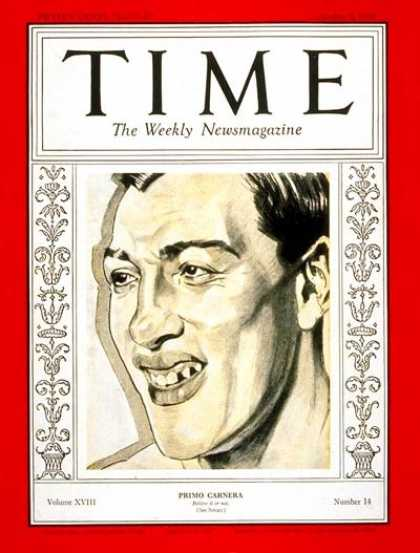 Time - Primo Carnera - Oct. 5, 1931 - Boxing - Italy - Sports