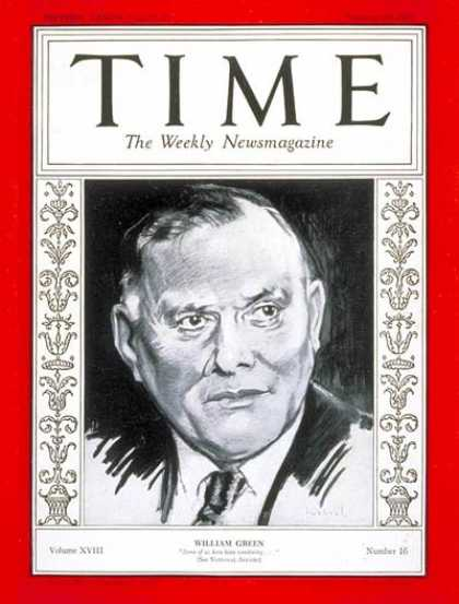 Time - William Green - Oct. 19, 1931 - Employment - Labor Unions