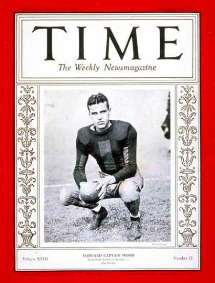 Time - Barry Wood - Nov. 23, 1931 - Football - Sports