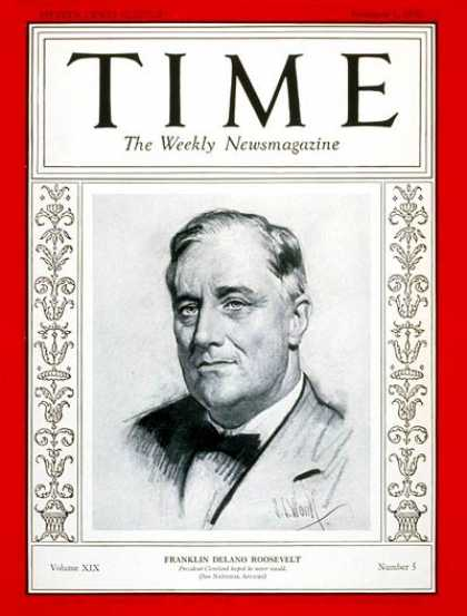 Time - Franklin D. Roosevelt - Feb. 1, 1932 - Governors - New York - Presidential Elect