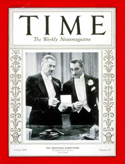 Time - Barrymore Brothers - Mar. 7, 1932 - Actors - Movies - Broadway - Theater