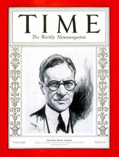 Time - Newton D. Baker - May 23, 1932 - Democrats - Politics - Presidential Elections -