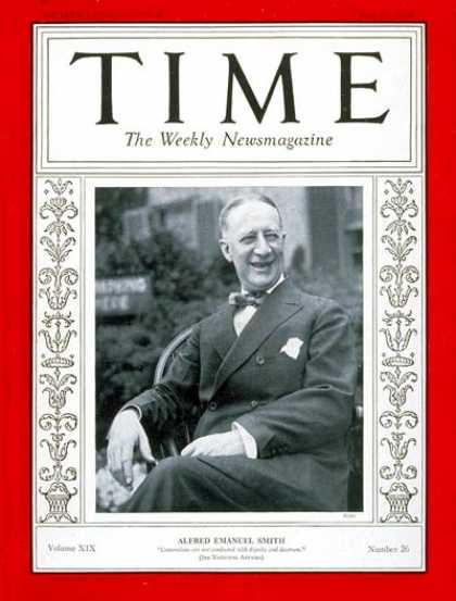 Time - Alfred E. Smith - June 27, 1932 - Presidential Elections - Politics