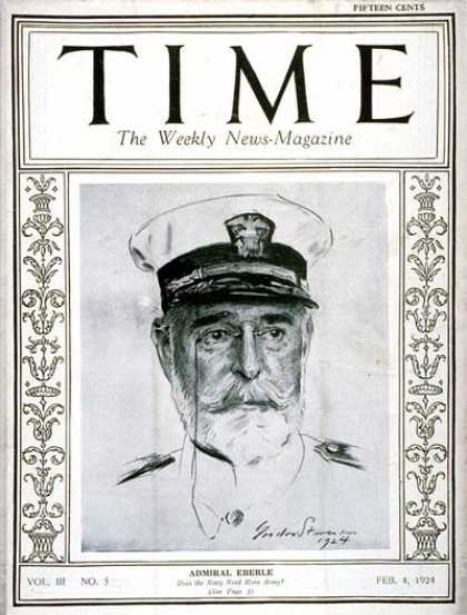 Time - Admiral Edward Eberle - Feb. 4, 1924 - Admirals - Navy - Military
