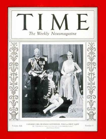 Time - Earl of Bessborough - July 25, 1932 - Canada