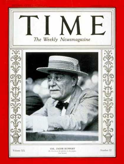 Time - Colonel Jacob Ruppert - Sep. 19, 1932 - Baseball - Sports