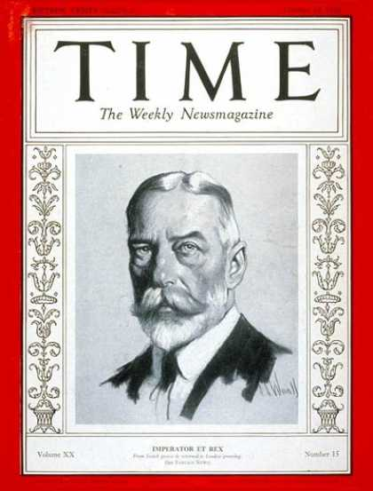 Time - King George V - Oct. 10, 1932 - Royalty - Great Britain