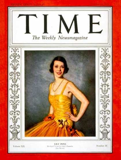 Time - Lily Pons - Oct. 17, 1932 - Singers - Opera - Music