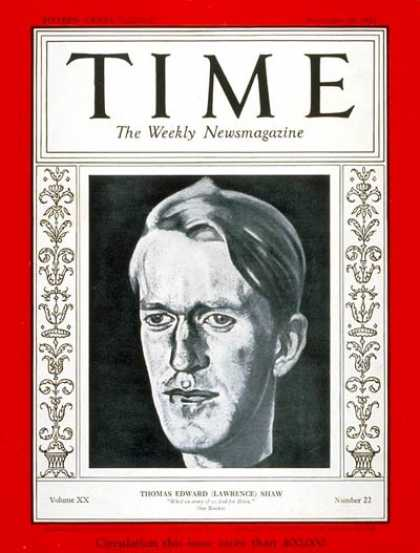 Time - T.E. Lawrence - Nov. 28, 1932 - Middle East - Books - Great Britain
