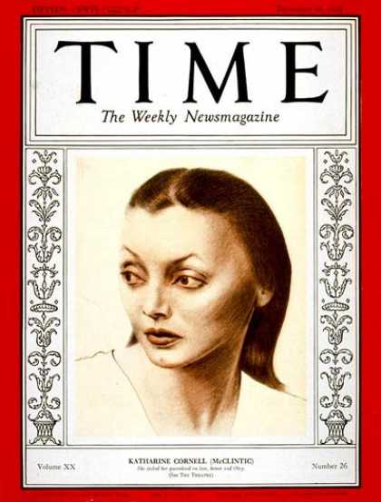 Time - Katharine Cornell - Dec. 26, 1932 - Theater - Actresses - Broadway