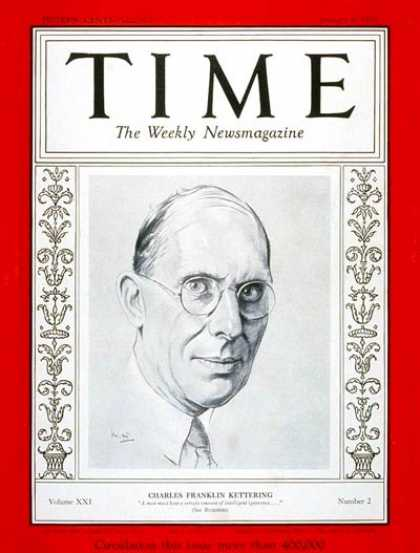 Time - Charles F. Kettering - Jan. 9, 1933 - Cars - Inventions - Innovation - Automotiv