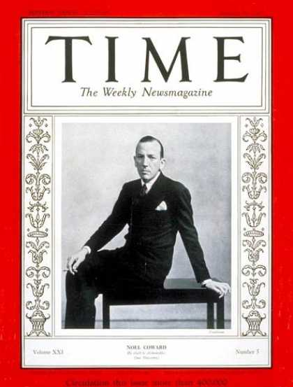 Time - Noel Coward - Jan. 30, 1933 - Theater - Books - Actors - Composers
