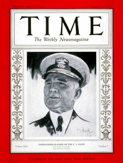 Time - Admiral Richard Leigh - Feb. 13, 1933 - Admirals - Navy - Military