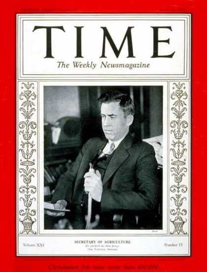 Time - Henry A. Wallace - Apr. 10, 1933 - Henry Wallace - Vice Presidents - Politics
