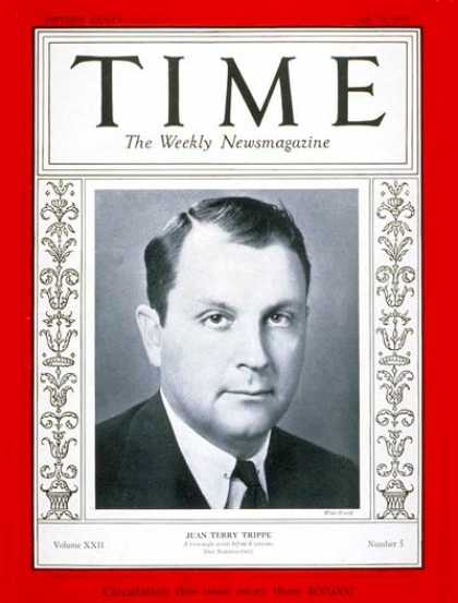 Time - Juan Trippe - July 31, 1933 - Finance - Aviation - Business