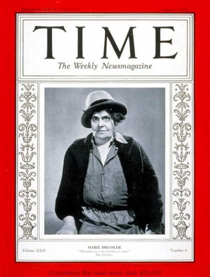 Time - Marie Dressler - Aug. 7, 1933 - Actresses - Movies