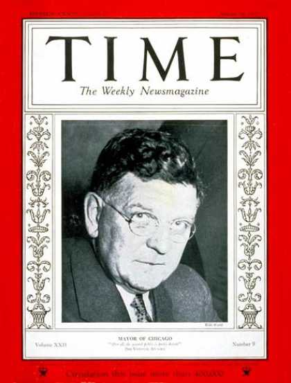 Time - Edward J. Kelly - Aug. 28, 1933 - Chicago - Cities - Politics