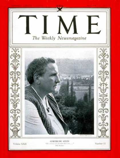 Time - Gertrude Stein - Sep. 11, 1933 - Books - Poets