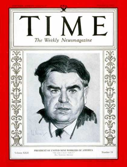 Time - John L. Lewis - Oct. 2, 1933 - Politics